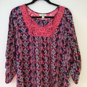 Dress Barn Peasant Blouse L